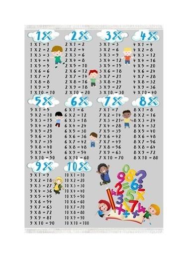 Belemir Belemir K387 Çarpım Tablosu Erkek Dekoratif Yıkanabilir Halı Renkli